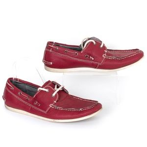 """Madden """"M-Gamer"""" Red Leather Lined Boat Shoes 9 SH"""